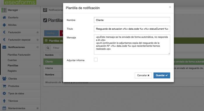 Plantillas Notificaciones partes de trabajo en tiempo real