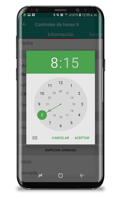 app control horario establecer hora entrada